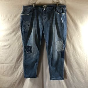 Zanadi Distressed Patched Crop Jeans